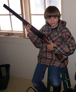 Alex with his 20 gauge competition shotgun.